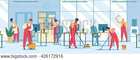 Office Cleaning. Team Of Professional Cleaners Mopping Floor, Vacuuming, Wiping Window. Janitors In