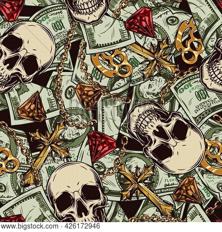 Money Vintage Seamless Pattern With Falling Dollar Banknotes Skulls Colorful Diamonds Gold Crosses K