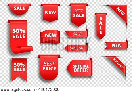 Red Sale Tags. Promotion Banner, Special Price Label, Exclusive Offer Tag. Red Ribbon Badges, Corner