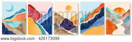 Watercolor Landscape Poster. Abstract Minimalist Painting With Mountains. Wall Art Posters With Wate