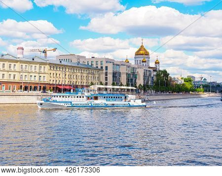 Moscow, Russia - May 25, 2021: View Of Prechistenskaya Embankment, Cathedral Of Christ The Savior, M