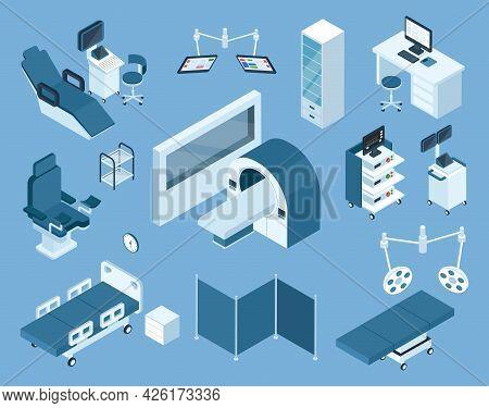 Isometric Medical Equipment. Mri, Hospital Bed, Patient Monitoring Device, Ultrasound Scanner. Healt