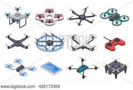 Isometric Drone. Unmanned Aircraft With Propellers, Aerial Remote Transporters. Flying Delivery Dron
