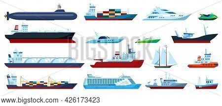 Flat Sea Boats. Cruise, Cargo Ship, Yacht, Sailboat, Tugboat, Motorboat, Submarine, Fishing Boat. Oc