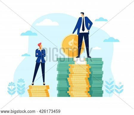 Gender Wage Gap. Businessman And Businesswoman Standing On Money Stack. Unequal Pay, Financial Discr