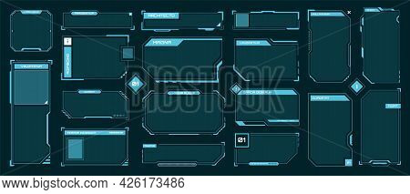 Hud Frames. Futuristic Text Box, Border, Frame. Sci-fi Digital Screen, Hologram Panel. High Tech Hud