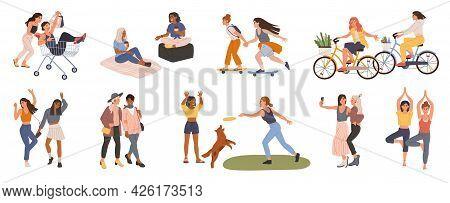 Female Friends. Young Women Friend Spending Time Together, Dancing, Taking Selfie, Doing Yoga, Shopp