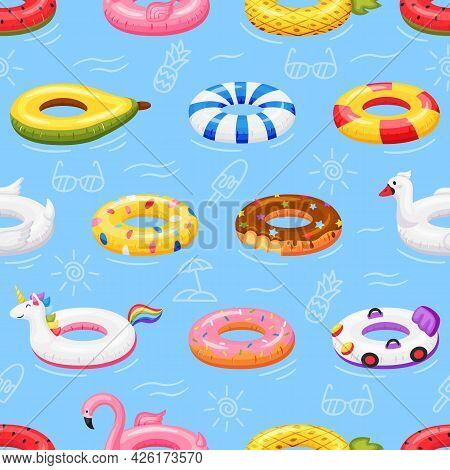 Swimming Ring Seamless Pattern. Colorful Inflatable Pool Toys Floating On Water. Flamingo, Unicorn,