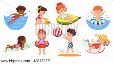 Kids On Beach. Boys And Girls In Swimsuits Swimming In Sea, Building Sandcastle. Cartoon Joyful Chil