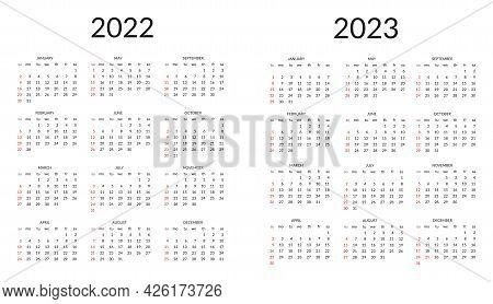 Calendar For 2022 And 2023. Vector Illustration On White Background.
