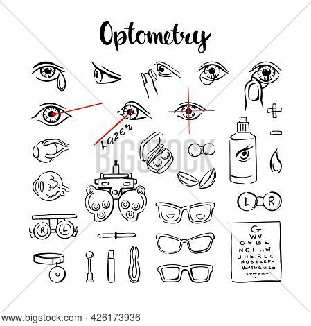 Optometry Is A Set Of Icons, With Eyes, Lenses And Glasses For Medical Information Graphics. Hand-dr