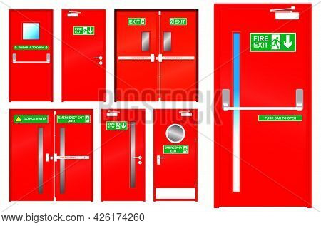 Set Of Realistic Red Emergency Exit Door Isolated Or Red Color Metal Door For Emergency And Evacuate