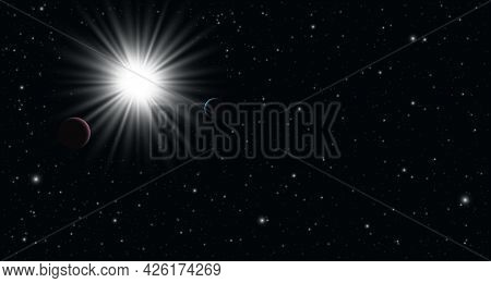 Realistic Space Background With Stars And Planets. Starry Outer Space Background Texture. Panoramic