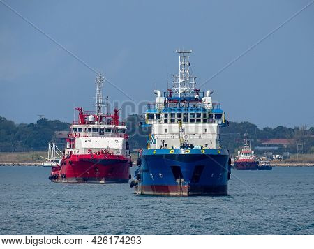 Labuan Ft,malaysia-feb 26,2020:offshore Supply Vessel At Labuan Ft,malaysia. Its Specifically Serve
