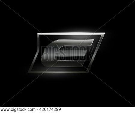 Carbon Speed Letter E Logo, Dark Matte Metal Carbon Texture. Drive Dynamic Steel Letter, Turbo Bold