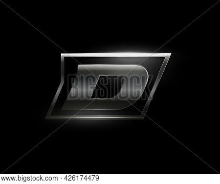 Carbon Speed Letter D Logo, Dark Matte Metal Carbon Texture. Drive Dynamic Steel Letter, Turbo Bold