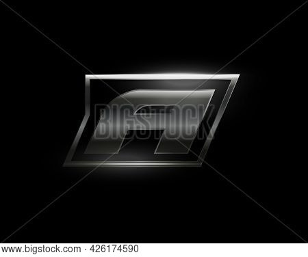 Carbon Speed Letter A Logo, Dark Matte Metal Carbon Texture. Drive Dynamic Steel Letter, Turbo Bold