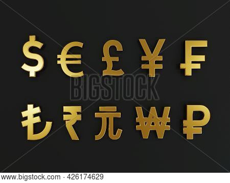 3d Rendering For Main Golden Currency Exchange Include Dollar Yen Pound Euro Yuan Won In The World O