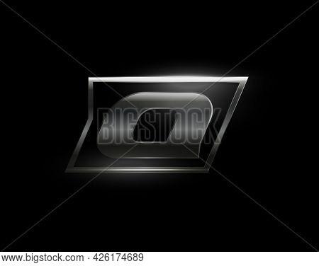 Carbon Speed Letter Q Logo, Dark Matte Metal Carbon Texture. Drive Dynamic Steel Letter, Turbo Bold