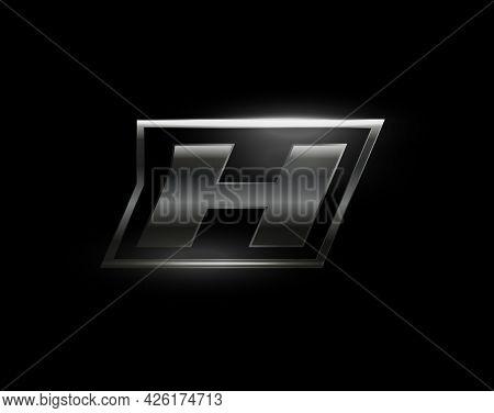 Carbon Speed Letter H Logo, Dark Matte Metal Carbon Texture. Drive Dynamic Steel Letter, Turbo Bold