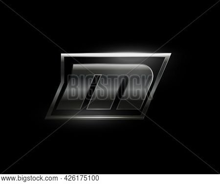 Carbon Speed Letter M Logo, Dark Matte Metal Carbon Texture. Drive Dynamic Steel Letter, Turbo Bold