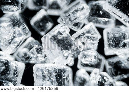 Crystal Sugar Close Up On Black Background Under The Light Microscope, Magnification Of 40 Times, Mi