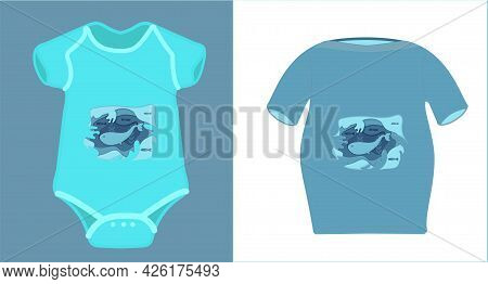 Illustration For Mom And Baby Family Clothes On The Marine Theme. Drawing In The Style Of Paper Cut.