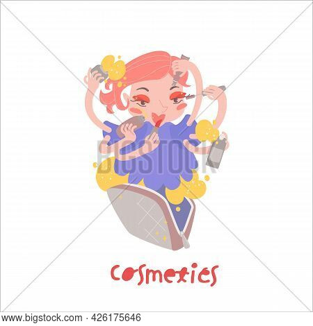 Cosmetics Character Vector Icon. Makeup, Toiletry Pictogram.