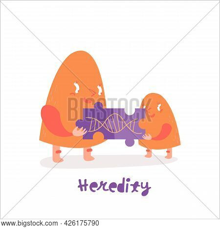 Genetics Character Icon. Heredity Funny Pictogram In Modern Style