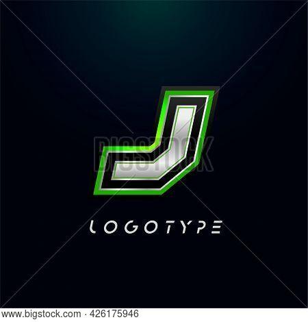 Letter J For Video Game Logo And Super Hero Monogram. Sport Gaming Emblem, Bold Futuristic Letter Wi