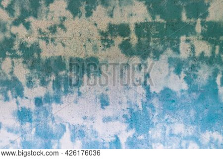 Blue Green Spoted Exposed Wall Texture.empty Old Stained Art Texture Of Plaster Brick Wall Backgroun