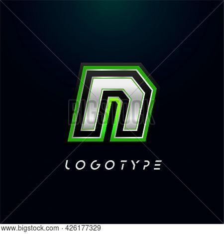 Letter N For Video Game Logo And Super Hero Monogram. Sport Gaming Emblem, Bold Futuristic Letter Wi