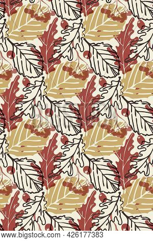 Falling Leaves Vector Seamless Pattern. Autumn Camouflage Backdrop, Transparent Effect. Hand Drawn I
