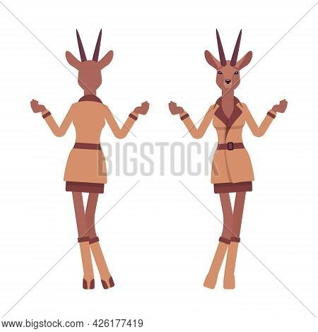 Roe Deer Woman Shrug Hands, Elegant Gazelle Lady, Animal Head Stylish Human. Deerlike Businesswoman,