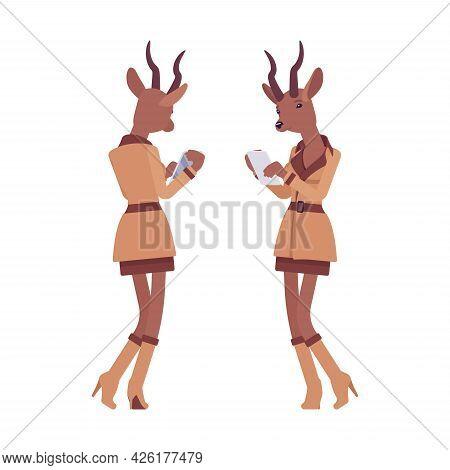 Roe Deer Woman With Smartphone, Elegant Gazelle Lady, Animal Head Stylish Human. Deerlike Businesswo