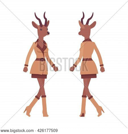 Roe Deer Woman, Elegant Lady, Animal Head Stylish Human Walking. Attractive Deerlike Businesswoman,