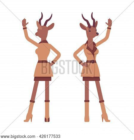 Roe Deer Woman Waving Hand, Elegant Gazelle Lady, Animal Head Stylish Human. Deerlike Businesswoman,
