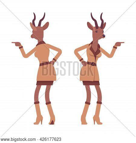 Roe Deer Woman In Anger, Elegant Gazelle Lady, Animal Head Stylish Human. Deerlike Businesswoman, Sl