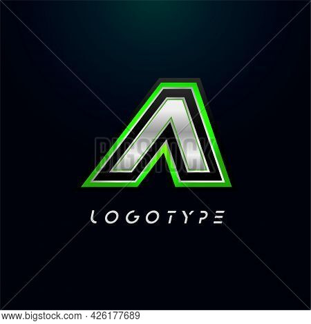 Letter A For Video Game Logo And Super Hero Monogram. Sport Gaming Emblem, Bold Futuristic Letter Wi