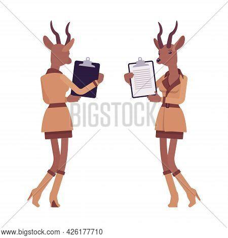 Roe Deer Woman With Clipboard, Elegant Gazelle Lady, Animal Head Stylish Human. Deerlike Businesswom