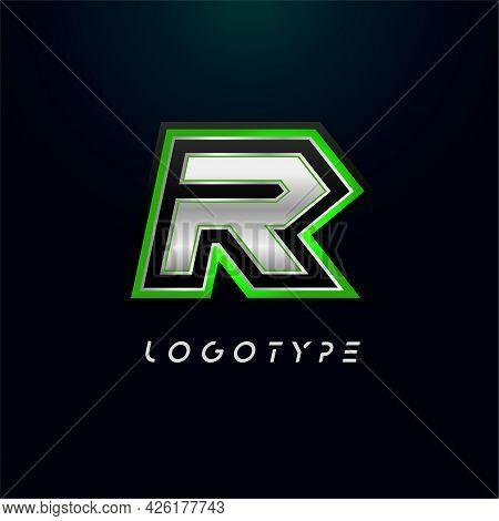 Letter R For Video Game Logo And Super Hero Monogram. Sport Gaming Emblem, Bold Futuristic Letter Wi