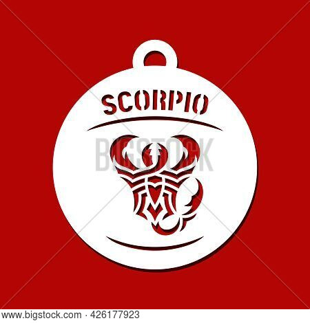 Round Pendant With Zodiac Sign Scorpio. Hanging Jewelry, Home Decor Or Christmas Ball. Template For