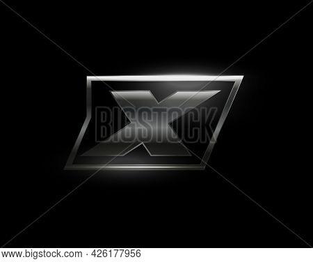 Carbon Speed Letter X, Dark Matte Metal Carbon Texture. Drive Dynamic Steel Letter, Turbo Bold Itali
