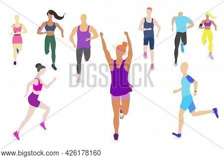 Big Set With People Running Or Jogging. Flat Style Vector Illustration. People Running In Front, Sid