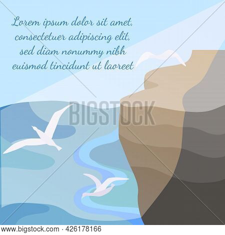 Landscape With A Seashore, Sunbeams And Seagulls. Rock Cliff With A Plateau And Calm Sea Underneath.