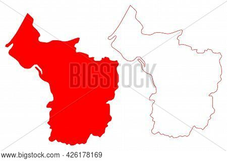 Bristol (united Kingdom, City, Ceremonial County And Unitary Authority Of England) Map Vector Illust