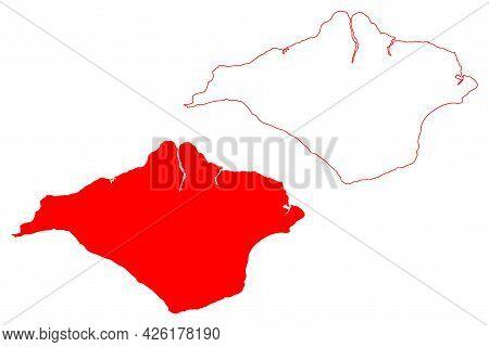 Isle Of Wight County (united Kingdom, Ceremonial County Of England) Map Vector Illustration, Scribbl