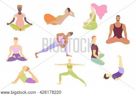 Set With Men, Women And Kids Doing Asanas. Men And Women In A Front And Back View Lotus And Other As
