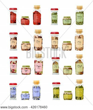 Set Of Glass Bottles With A Dried Basil, Peppers, Anise, Cloves, Rosemary, Pul Biber, Bay Leaf And L