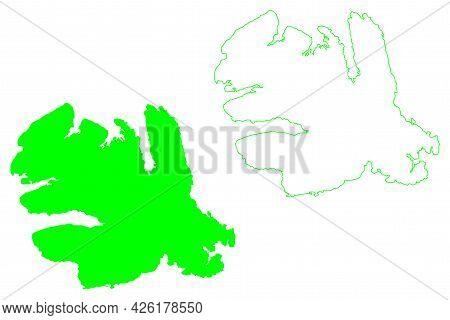 Victoria Island (canada, North America, Canadian Arctic Archipelago) Map Vector Illustration, Scribb